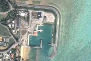 宜野座漁港上空写真